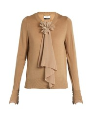 Muveil Floral Corsage Wool Blend Cardigan Camel