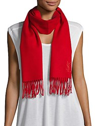Yves Saint Laurent Wool And Cashmere Scarf Tomato