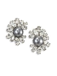 Kenneth Jay Lane Crystal And Faux Pearl Clip On Earrings Silver