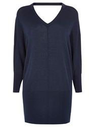 Karen Millen V Front And V Back Tunic Oversized Jumper Navy