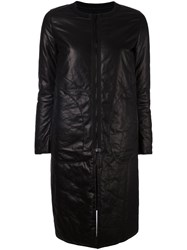 Ahirain Leather Zip Coat Black