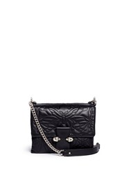 Alexander Mcqueen Twin Skull Quilted Butterfly Leather Satchel Black