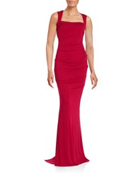 Nicole Miller Draped Open Back Gown Red