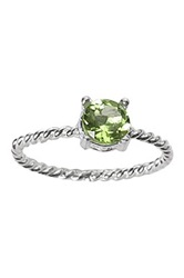 Ariane Arazi Sterling Silver Twisted Wire Round Peridot Ring Green