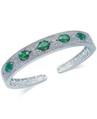 Macy's Emerald 5 Ct. T.W. And White Sapphire 1 Ct. T.W. Bangle Bracelet In Sterling Silver Green