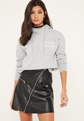 Missguided Grey Girl Gang Embroidered Hoodie