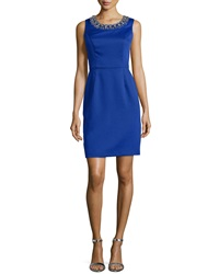 Shoshanna Sleeveless Scoop Neck Beaded Sheath Dress Royal Blue