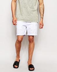 Asos Stretch Chino Shorts In Mid Length White
