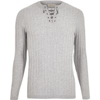 River Island Mens Grey Lace Up Slim Fit Top