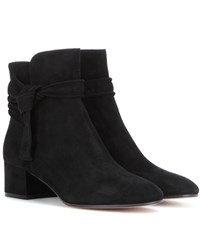 Gianvito Rossi Leslie Mid Suede Ankle Boots Black