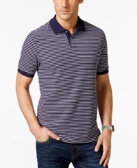 Club Room Short Sleeve Feeder Stripe Polo Only At Macy's Navy Blue