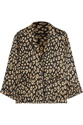 Kate Moss For Equipment Lake Leopard Print Washed Silk Pajama Shirt Leopard Print Brown