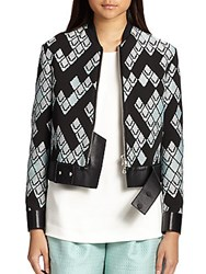 3.1 Phillip Lim Leather Trim Baseball Jacket Celadon Black
