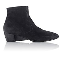 Marsell Women's Suede Wedge Heel Ankle Boots Black Blue Black Blue