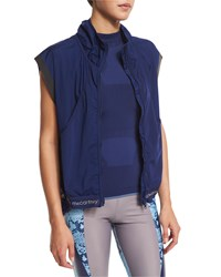 Adidas By Stella Mccartney Adizero Gilet Zip Front Sport Vest Dark Blue