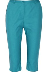 Missoni Cropped Stretch Cotton Slim Leg Pants Blue