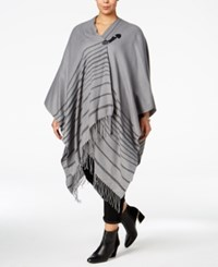 Love Squared Trendy Plus Size Fringe Poncho Grey Black