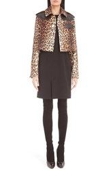 Givenchy Women's Leather Trim Leopard Print Crop Wool Jacket