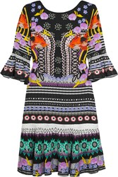 Temperley London Cherise Printed Stretch Jersey Mini Dress Black Fuchsia