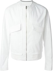 System Homme Long Flap Pockets Zip Jacket White