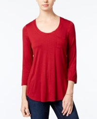 Maison Jules Three Quarter Sleeve Scoop Neck T Shirt Only At Macy's Bright Rhubarb