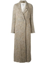 Forte Forte Long Herringbone Overcoat Nude And Neutrals