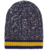 Gucci Striped Wool Alpaca And Silk Blend Beanie Blue