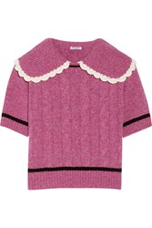 Miu Miu Crochet Trimmed Cable Knit Wool Sweater Pink