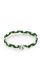 Caputo And Co. Hand Knotted Triangle Bracelet Green Combo