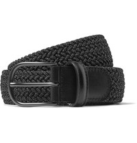 Andersons 3Cm Grey Leather Trimmed Woven Elastic Belt Gray