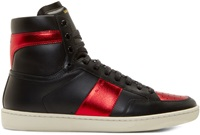 Saint Laurent Black And Red Leather High Top Sneakers