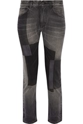 Facetasm Patchwork Low Rise Straight Leg Jeans Dark Gray