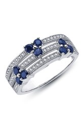Micro Pave Simulated Diamond And Simulated Sapphire Split Band Blue