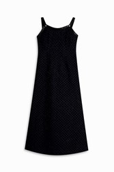 Adam By Adam Lippes Knot Strap Bugle Bead Dress Navy