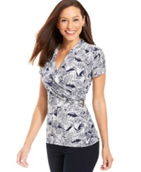 Charter Club Short Sleeve Crossover Top Intrepid Blue