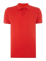 Armani Jeans Regular Fit Short Sleeve Logo Polo Shirt Red