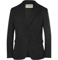 Casely Hayford Titus Ribbed Felted Cotton Blend Blazer Gray