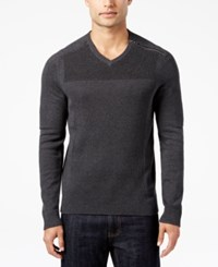 Inc International Concepts Men's Multi Textured V Neck Sweater Only At Macy's Charcoal Heather