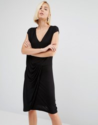 Y.A.S Chase Gathered Front Dress Black