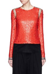 Emilio Pucci Sequin Embellished Mesh Top Red