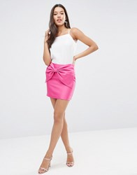 Asos Mini Skirt With 80'S Oversized Bow Magenta Purple