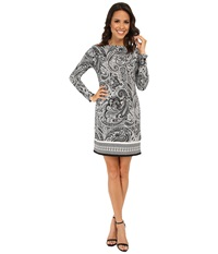 Michael Michael Kors Ashbury Long Sleeve Boat Neck Border Dress Black White Women's Dress