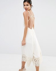 Somedays Lovin Moon Sister Midi Jumpsuit With Lace Embroidery And Low Back Natural Cream