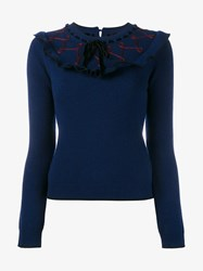 Roksanda Ilincic Langton Wool And Cashmere Jumper Navy Red Black Maroon