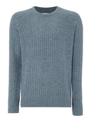 Peter Werth Men's Oregon Knitted Wool Mix Crew Neck Blue