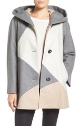 Gallery Women's 'Puzzle' Wool Blend Hooded Colorblock Coat Oatmeal Multi