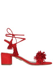 Aquazzura 50Mm Wild Things Fringed Suede Sandals