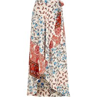 River Island Womens Light Orange Print Maxi Skirt