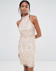 Missguided Lace Overlay Dress Dusky Pink