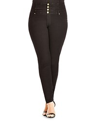 City Chic Corset High Waisted Skinny Jeans Black